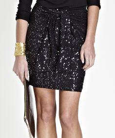 Caviar Black Sequin Kate Skirt