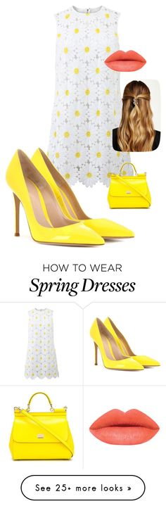 """""""A taste of Spring"""" by kotnourka on Polyvore featuring Dolce&Gabbana, Gianvito Rossi, Natasha Accessories, women's clothing, women, female, woman, misses and juniors"""