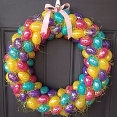 My DIY Easter egg wreath!  Quick project and it costs around $25.00 to make.