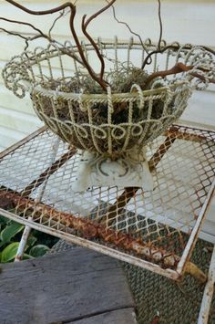 Metal basket with a cast iron base filled with moss and willow branches