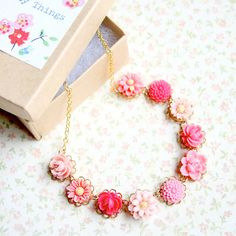 Perfectly Pink Necklace14K gold filled by NestPrettyThingsKids, $34.00