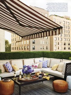 Striped awnings keep the sun at bay.