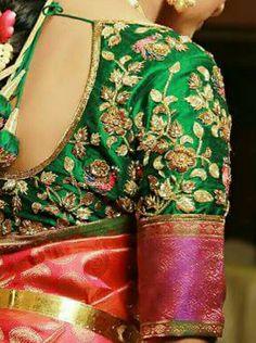 Elegant Design Indian Wedding Saree CLICK Visit link for more info sariweddings South Indian Blouse Designs, Fancy Blouse Designs, Bridal Blouse Designs, Hand Work Blouse Design, Hand Work Design, Mirror Work Blouse, Pattu Saree Blouse Designs, Maggam Work Designs, Sleeve Designs