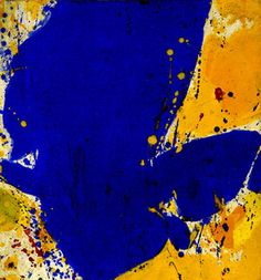 blue abstract art by Sam Francis #blue and #yellow