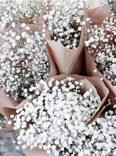 White flower arrangements like crisp and clean baby's breath