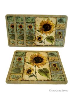 American Chateau - Set 4 Sunflowers Flowers Corkboard Cork Placemats FP4ND015, $19.99 (http://www.americanchateau.com/Set-4-Sunflowers-Flowers-Corkboard-Cork-Placemats-FP4ND015/)