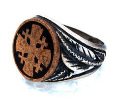 Jerusalem Cross Sterling Silver Ring Israel Holy land Old Vintage Rare Hand Made