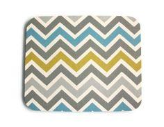 Mouse Pad mousepad / Mat - Rectangle -  Summerland Chevron - Zig zag - blue, gray, green