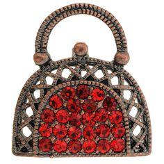 Valentine's Day Red Lady Handbag Crystal Pin Brooch