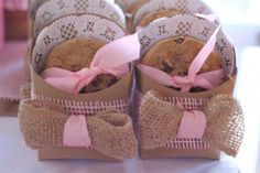 Chocolate chip cookies in natural fry boxes with pink and brown burlap ribbon rustic sweets table candy buffet girl party ideas milk and cookie party