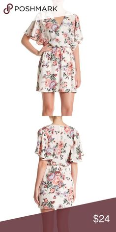 """Surplice Neck Floral Print Dress Details - Surplice neck - Short flutter sleeves - Concealed front snap-button closure - Allover floral print - Elasticized waist - 2 on-seam pockets - Approx. 34"""" length (size S) - Imported Mimi Chica Dresses"""