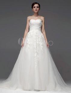 Robe mariée magnifique princesse effet encolure coeur en tulle croisée - Milanoo.com