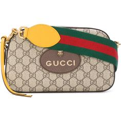 Gucci GG Supreme shoulder bag ($950) ❤ liked on Polyvore featuring bags, handbags, shoulder bags, brown, stripe purse, leather purses, leather shoulder bag, genuine leather handbags and brown shoulder bag