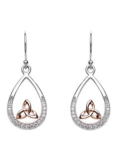 Rose Gold Plated Trinity Knot Celtic Earrings