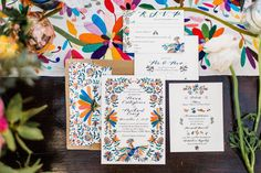 Bright, vibrant wedding invitation idea - folk art-inspired design invitations - Check out more rainbow wedding ideas on WeddingWire! {The Messy Painter} Wedding Place Cards, Wedding Programs, Save The Date Invitations, Wedding Invitations, Rainbow Wedding, Wedding Colors, Wedding Ideas, Invitation Design, Bold Colors