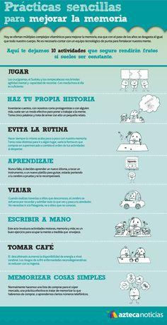 Hola: Una infografía con 10 prácticas para mejorar la memoria. Vía Un saludo