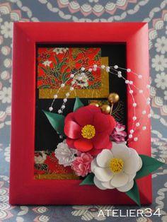 お正月風フレーム | atelier 34 Chinese New Year Flower, Japanese New Year, Japanese Art, Chinese New Year Decorations, New Years Decorations, Origami, Crepe Paper Flowers, Felt Flowers, Diy And Crafts