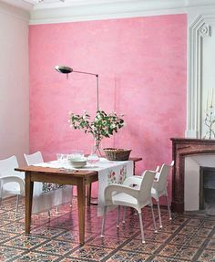 Pink wall dining room