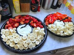 Snacks and food for a Pokémon-themed birthday party. Click or visit FabEveryday.com to see details and DIY instructions for a Pokémon or Pokémon Go themed kid's party, including food, decorations, favors, and party activities.