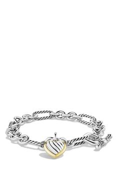 David Yurman 'Cable Heart' Two-Tone Charm Link Bracelet available at #Nordstrom