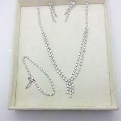 Gold Rhodium CZ Bracelet, Earrings & Necklace Set @ https://www.gokoco.com/gkc/fashion-jewelry/gold-rhodium-cz-custom-made-bracelet-earring-and-necklace-set-gy24-1s.html #bracelets #earrings #necklaceset #fashionjewelry #czbracelets #whitegoldjewelry #custommadejewelry