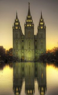Sunset reflection of the Salt Lake Temple Salt Lake Temple, Salt Lake City Utah, Mormon Temples, Lds Temples, Home Temple, Temple Lds, Reflection Pictures, Lds Mormon, Latter Day Saints
