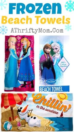 Frozen Disney Beach towel, Elsa adn Anna #Frozen, #Disney #Olaf