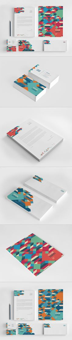 Clean Colorful Stationery by AbraDesign Pattern Design, Print Design, Web Design, Logo Design, Stationery Templates, Stationery Design, Corporate Identity Design, Brand Identity, Concept Board
