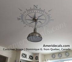 Compass Ceiling Medallion Wall Decal Nautical Chandelier Beach Decor Removable…