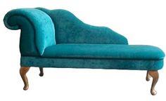 Designer Traditional Chaise Longue in Teal Blue Velvet | eBay