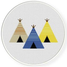 Charts Club Members Only: Three Teepees Cross Stitch Pattern