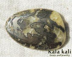 Pyrite Ammonite Cabochon  Yellow Calcite Fossil by KalaKaliGems, €18.00