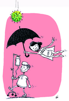 Grippeimpfung, Schutzimpfung, Grippe, Schutzschirm  Cartoon für Unispital Zürich Health Care, Snoopy, Cartoon, Fictional Characters, Public Health, Cartoons, Fantasy Characters, Comics And Cartoons