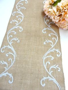 Sophisticated Wedding Table Runner , Silver Wedding Linens , Burlap Wedding Overlay , Embroidered table decor by Hot Cocoa Design Wedding Table Decorations, Wedding Reception Tables, Burlap Table Runners, Sophisticated Wedding, Wedding Linens, Embroidery Designs, Etsy, Crafts, Handmade