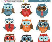 80% OFF - INSTANT DOWNLOAD,  ties and bow ties owl clipart, owl clip art, boys graphic, baby shower, for owl logo, commercial use, invites,