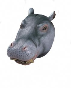 Hippo Deluxe Latex Animal Mask - This is a full face latex Hippo mask. There is a hole in the mouth for vision and breathing. This is made for adults and is not intended for children under 14 years of age. #yyc #costume #animal #mask