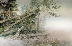 """Foggy Shore"" by Joe Cibere.  Nice misty feel and such masterful use of the negative painting technique."
