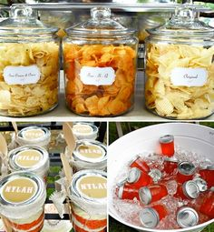 Kids pony party but TONS of cute ideas for a casual BBQ - love the chips in the jars, and their dessert bar, the caramel corn cups... awesome! - Click image to find more food & drink Pinterest pins