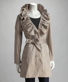 Take a look at this Joymark Cement Ruffle Collar Trench Coat by Joymark on #zulily today! ooohhh love it!