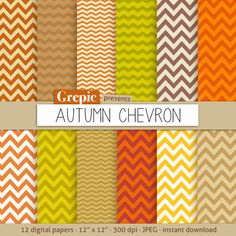 """Autumn chevron digital paper: """"AUTUMN CHEVRON"""" with warm red, orange, green, beige, yellow and brown fall chevron patterns and backgrounds #patterns #scrapbooking"""