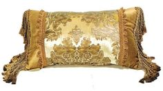 "Venezia velvet gold damask pattern print 14"" x 22"" throw pillow with bullion tassel ends - A.M.B. Furniture & Design"