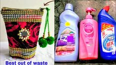 DIY Best Out Of Waste Empty Bottle Craft Idea. Hello friends, u must be having many empty bottles of shampoo, cleaners, detergents . of throwing it, make this amazingly beautiful craft that is useful . Detergent Bottle Crafts, Plastic Bottle Crafts, Plastic Bottles, New Crafts, Diy Arts And Crafts, Empty Bottles, Recycled Bottles, Bottle Art, Pet Bottle
