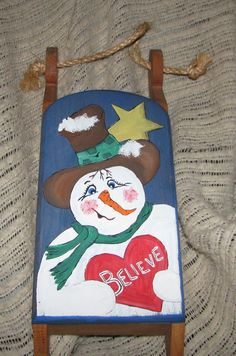 painted christmas sleds  | hand painted wooden sled