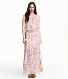 Breezy pink chiffon maxi dress with floral print. H&M Conscious collection; Made from recycled polyester. | H&M Pastels