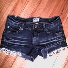 """Crochet Peek-a-boo Denim Shorts New condition. Short shorts. Crochet peek-a-boo pockets.  13"""" waist / 6.5"""" rise / 2"""" inseam  Please ask questions prior to purchasing.  • no trades • bundles get 10-15% off • offer button only Mudd Shorts Jean Shorts"""