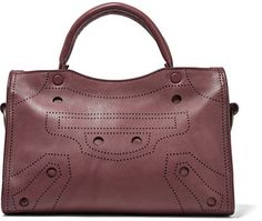 Balenciaga - City Blackout Small Perforated Leather Tote - Burgundy
