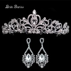 Tiaras and Earrings Crowns Wedding Sets Bride Hair Accessories