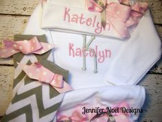 Personalized Take  Home Oufit, Home From Hospital set,  Layette Gown, leg warmers and Hat Set, Girls Take Home Outfit, Newborn Gown on Etsy, $46.00