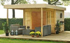 Blokhut / tuinhuisje model Florian 300 met overkapping aan voorzijde van Outdoor Life Products