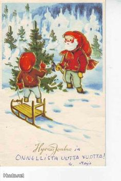 Irma Salmi Gnomes, Vintage Christmas, Christmas Cards, Illustrations And Posters, Vintage Cards, Finland, Disney Characters, Fictional Characters, Disney Princess